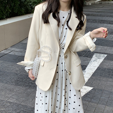 yesmaoom21dr式韩款简约复古垫肩口袋宽松女西装外套