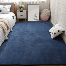 短毛客ma茶几地毯满de积卧室床边毯宝宝房间爬行垫定制深蓝色