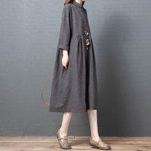 十暮棉ma装新式连衣ye21韩款宽松大码时尚长袖格子棉麻中长式