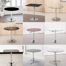 简约现ma钢化玻璃(小)co锈钢阳台休闲桌子洽谈接待待客桌