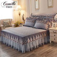 欧式夹ma加厚蕾丝纱an裙式单件1.5m床罩床头套防滑床单1.8米2