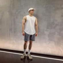 SOBmaRSIDEan身背心男坎肩宽松纯棉宽肩无袖T恤篮球训练运动上衣