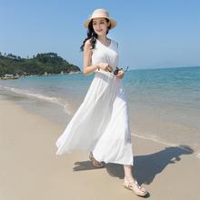202ma新式波西米yi显瘦雪纺连衣裙白色背心裙子修身度假沙滩裙