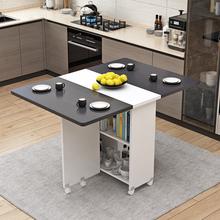 简易圆ma折叠餐桌(小)ci用可移动带轮长方形简约多功能吃饭桌子