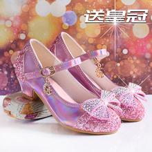 女童鞋ma台水晶鞋粉en鞋春秋新式皮鞋银色模特走秀宝宝高跟鞋