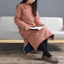 冬季民ma复古做旧细en棉加厚棉袍立领盘扣长式棉衣茶服女
