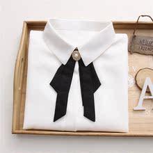 雪纺衬ma女长袖系带en020秋冬新式蝴蝶结职业镶钻加绒白衬衣潮