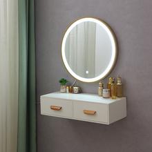 壁挂迷ma卧室网红ien欧(小)户型飘窗轻奢化妆台梳妆桌带灯