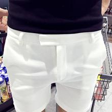夏季休ma短裤男五分ga修身休闲裤韩款白色百搭四分裤潮流中裤