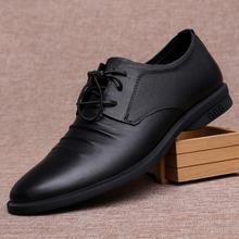 春季男ma真皮头层牛ia正装皮鞋软皮软底舒适时尚商务工作男鞋