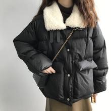 冬季韩款加ma纯色短款毛na棉服女宽松百搭保暖面包服女款棉衣