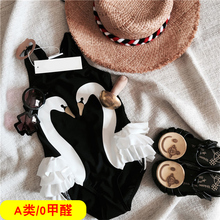 女孩宝ma连体比基尼is游泳衣天鹅女童泳衣(小)童1-2-8-9岁3泳装