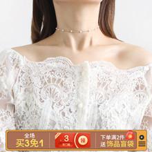 超好搭的choker时尚简约ma11珠项链ge锁骨链女脖子饰品颈带