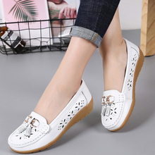 201ma夏季镂空豆ox真皮女式牛筋软底平底护士鞋休闲洞洞鞋单鞋