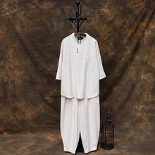 中国风ma服茶服居士ox中式唐装古装男士汉服佛系古风和服男装