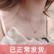 925ma银(小)蛮腰项ox8k玫瑰金颈链韩(小)众彩银锁骨链潮网红不掉色