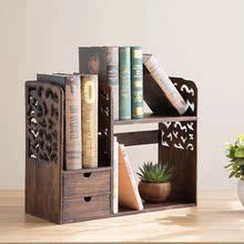 实木桌ma(小)书架书桌hi物架办公桌桌上(小)书柜多功能迷你收纳架