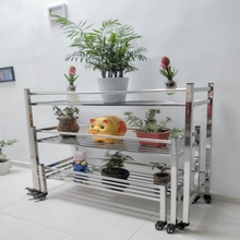 不锈钢ma叠多层阶梯mo盆栽多肉 室内外置物架花架移动省空间