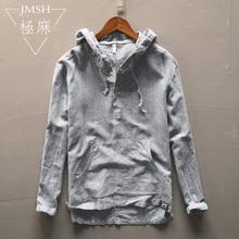 [marsh]极麻日系条纹连帽套头长袖棉麻衬衫