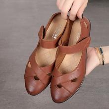 202ma新式妈妈鞋ty夏平底舒适防滑软底中跟中老年凉鞋女妈妈式