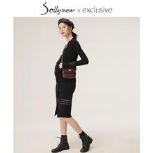 SELmaYNEARer妇装秋装春秋时尚修身中长式V领针织连衣哺乳裙子