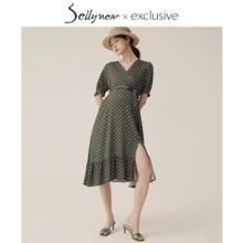 SELmaYNEARer20潮妈洋气孕妇装春夏装草绿色波点印花天连衣裙子季