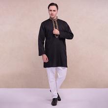 印度服装传ma民族风纯棉yc饰中长款薄款宽松长袖黑色男士套装