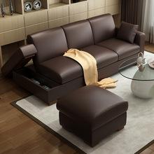 北欧日ma三的位(小)户es储物沙发床多功能真皮沙发床
