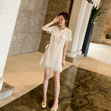 VISma薇莎 裙子ti21年新式夏季桔梗裙气质名媛(小)香风短袖连衣裙