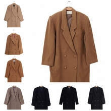 vinmaage古着ti古日本女式羊绒羊羔毛羊毛呢大衣 西装领双排扣