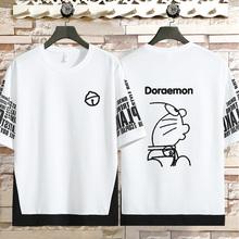 多啦休闲ma1梦衣服机ti恤叮当可爱个性动漫卡通猫男青少年衣服
