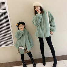 亲子装ma020秋冬ti洋气女童仿兔毛皮草外套短式时尚棉衣