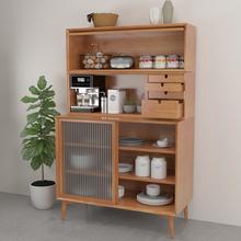 北欧实木餐边ma边柜咖啡机nd橱柜简约实木餐具柜多功能实