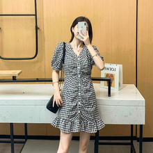 收腰格ma法式桔梗泡nd柔风短式连衣裙子2020年新式夏天女装