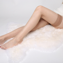 蕾丝超ma丝袜高筒袜te长筒袜女过膝性感薄式防滑情趣透明肉色