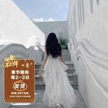 Swemathearte丝梦游仙境新式超仙女白色长裙大裙摆吊带连衣裙夏