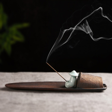 创意陶ma香插香座 te点插香器台香道檀香托盘 家用佛具香薰炉