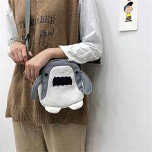 201ma新式时尚斜tm可爱帆布鲨鱼包包卡通搞怪单肩包包