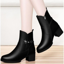 Y34ma质软皮秋冬tm女鞋粗跟中筒靴女皮靴中跟加绒棉靴