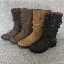 欧洲站ma闲侧拉链百zh靴女骑士靴2019冬季皮靴大码女靴女鞋