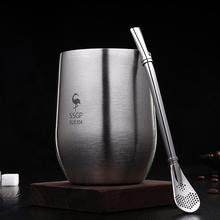 创意隔ma防摔随手杯zh不锈钢水杯带吸管家用茶杯啤酒杯
