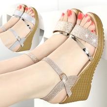 春夏季ma鞋坡跟凉鞋sa高跟鞋百搭粗跟防滑厚底鱼嘴学生鞋子潮
