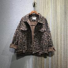 欧洲站ma021春季sa纹宽松大码BF风翻领长袖牛仔衣短外套夹克女