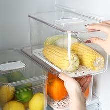 冰箱收ma盒抽屉式厨xh果蔬冷冻塑料储物盒神器食品整理保鲜盒