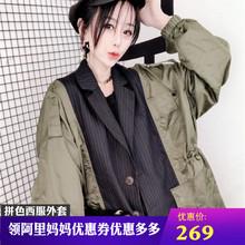 [mcoet]拼色条纹西服领外套女20