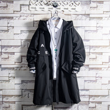 白糖玫md/20 黑cd男青年中长式痞帅气连帽秋冬季潮流韩款