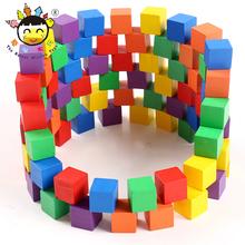 正方体md木数学教具cd正方形积木块(小)学生(小)方块玩具木头方块