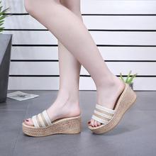 拖鞋女夏外穿韩款百搭高跟厚底松md12一字拖cd尚坡跟女士凉拖鞋