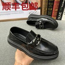 秋季商md休闲男皮鞋cf高英伦套脚一脚蹬时尚平底豆豆鞋