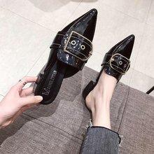 包头半md鞋女外穿2cf新式时尚百搭女鞋子尖头粗跟方扣懒的穆勒鞋